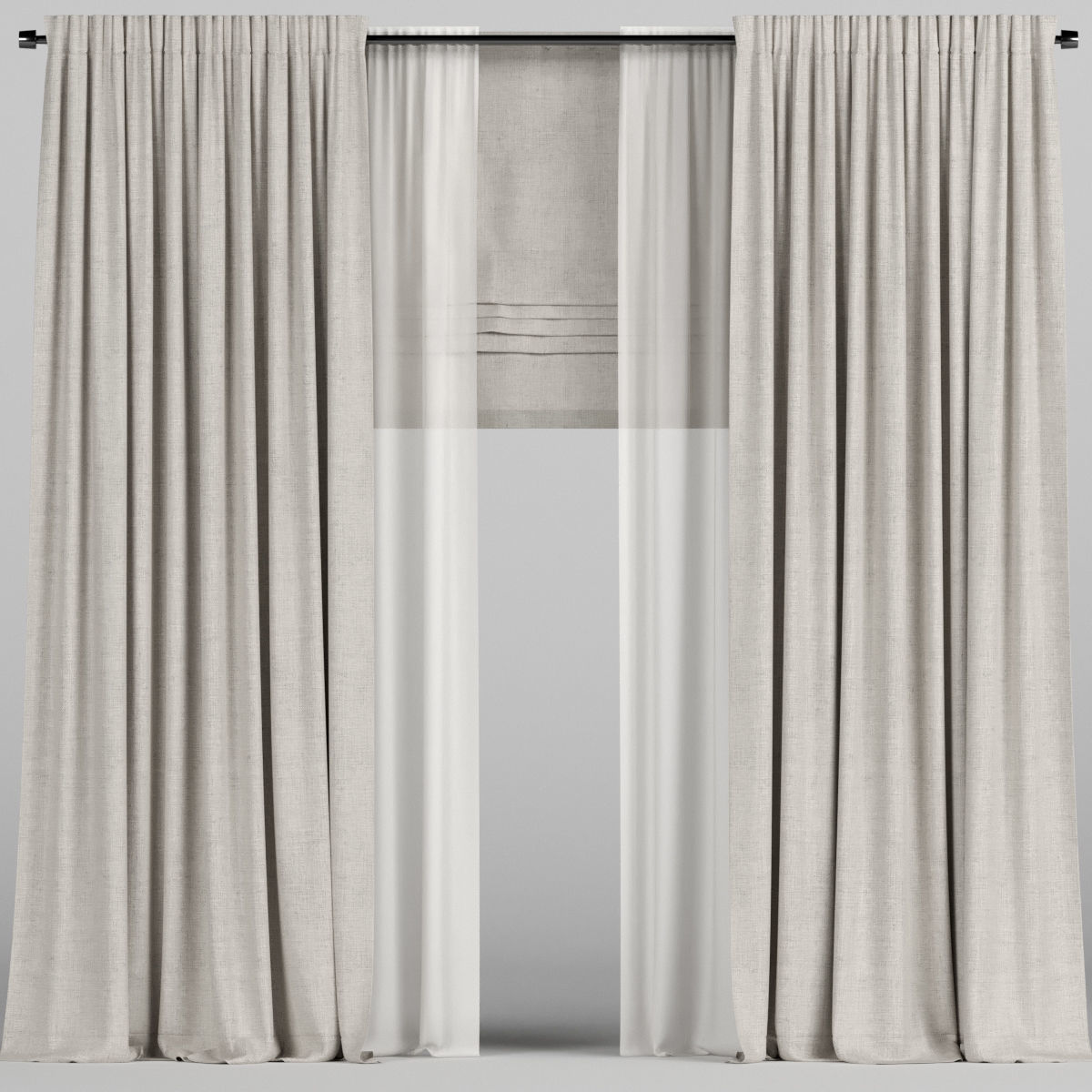 Beige curtains with tulle and roman blinds