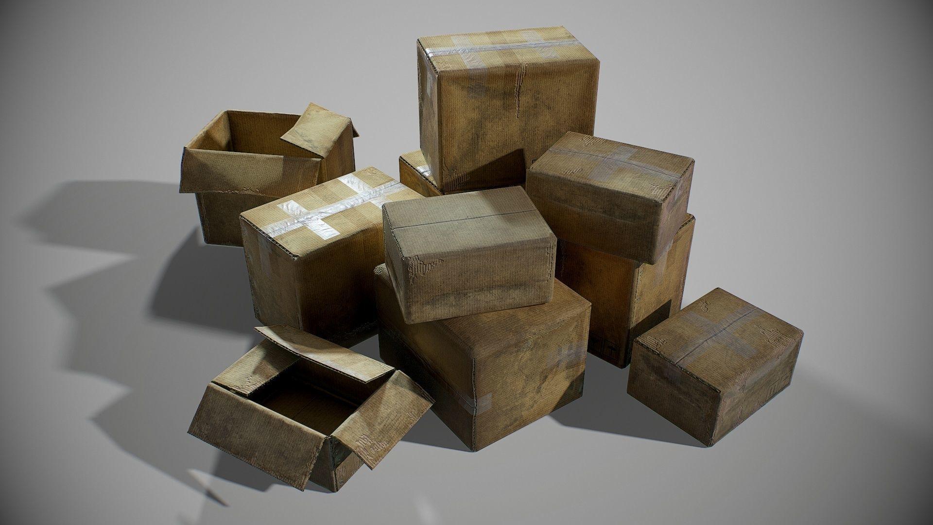 PBR Old Cardboard Boxes Set