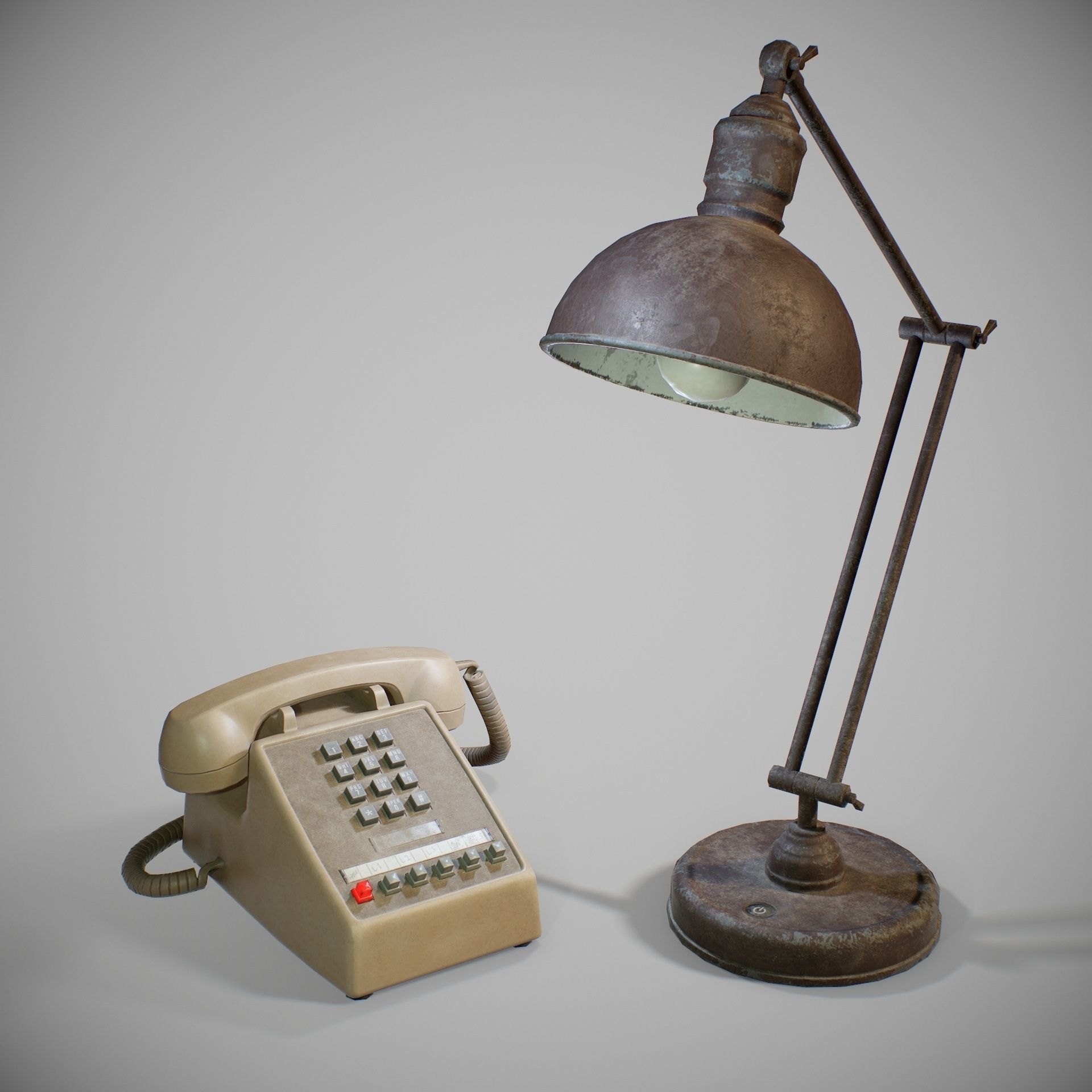 PBR Old Desk Lamp and Phone