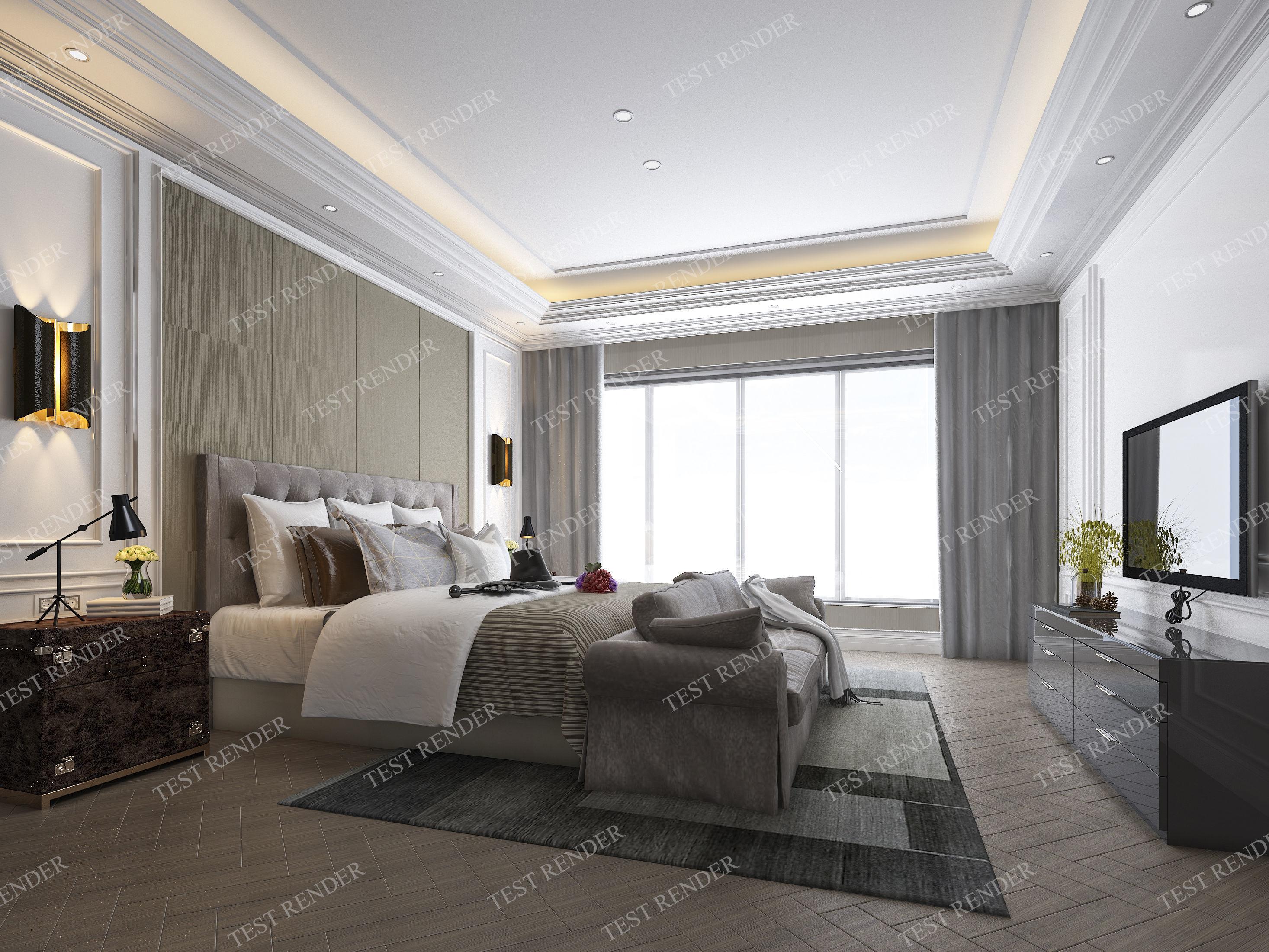 3D interior luxury classic modern bedroom suite in hotel