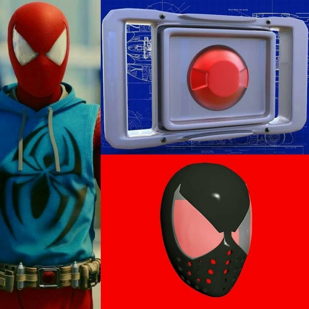 Scarlet Spider Faceshell and Belt Buckle