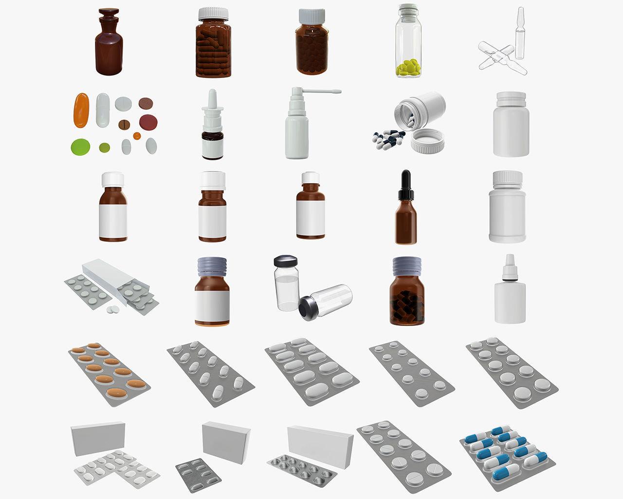 mock up glass plastic bottles pills blisters medicine
