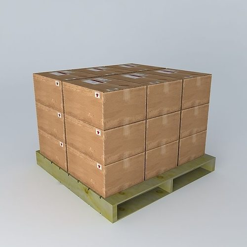 pallet with boxes 3d model max obj mtl 3ds fbx stl dae 1