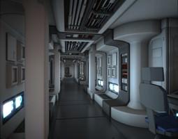 spacecraft corridor hd 3d model obj fbx blend