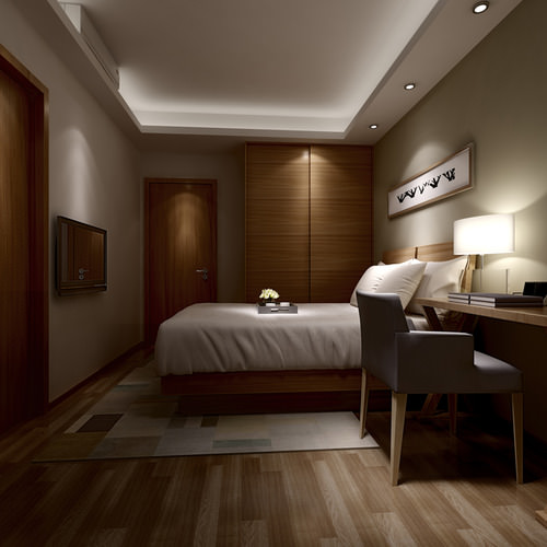 3d small hotel bed room hotel room cgtrader for Interior design bedroom 3d max
