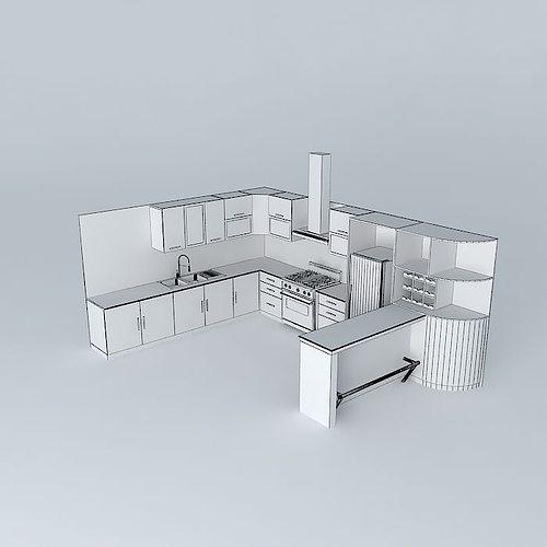 ... Kitchen Design With Equipment 3d Model Max Obj Mtl 3ds Fbx Stl Skp ...