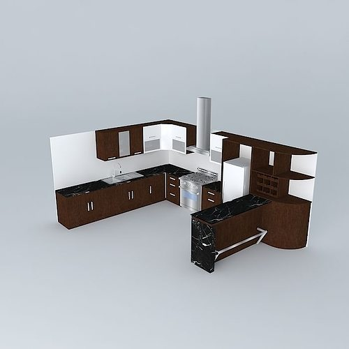 3d model kitchen design with equipment cgtrader for Model kitchen
