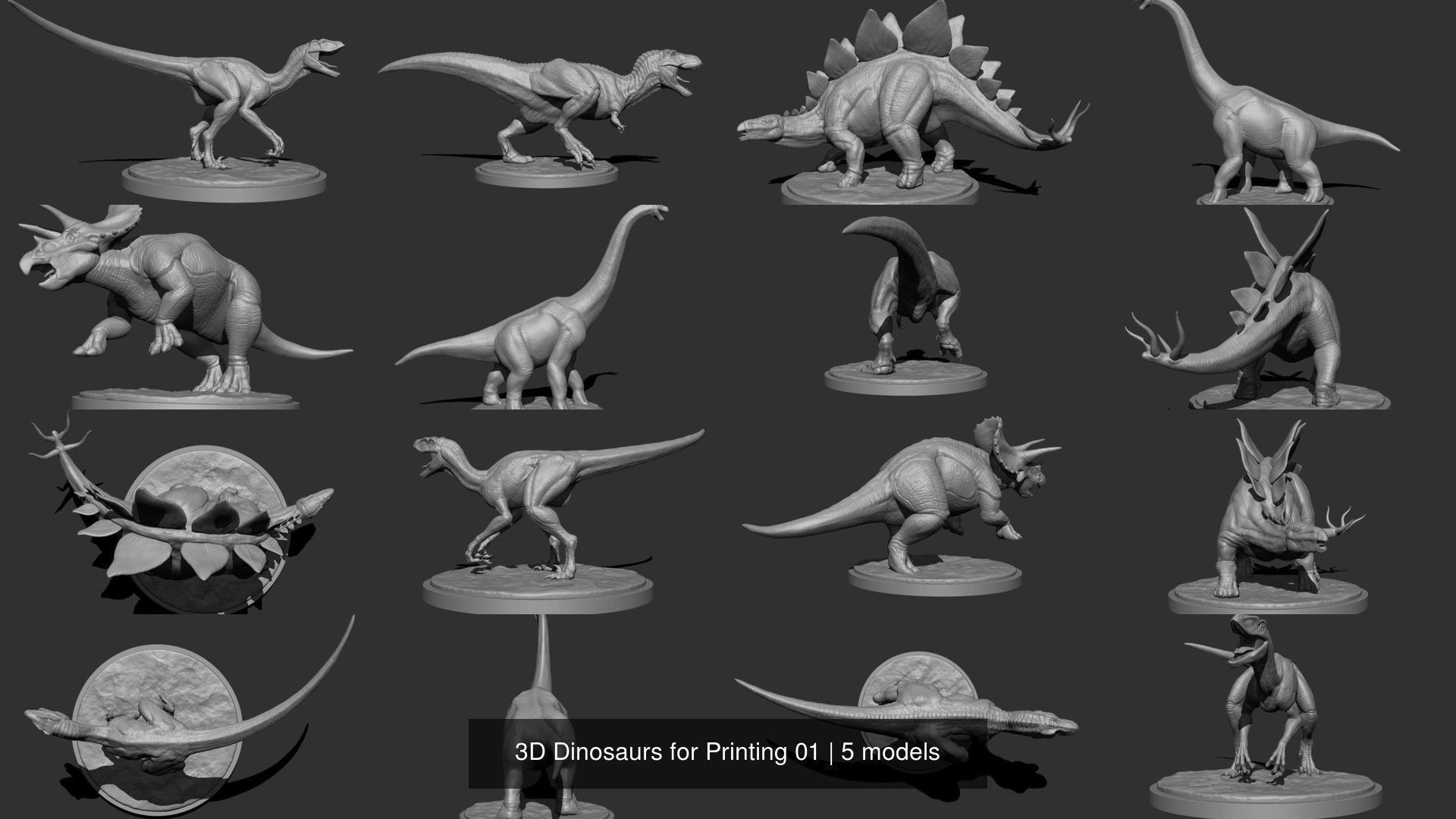 3D Dinosaurs for Printing 01