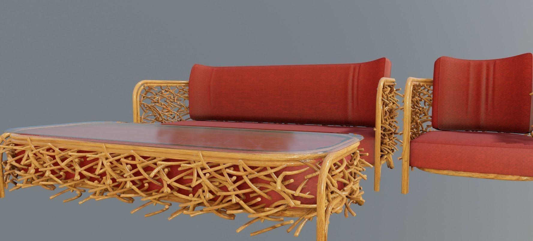 Superbe Out Door Furniture Set 3D Model