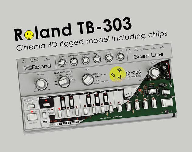 roland tb - 303 rigged 3d model rigged obj 3ds fbx c4d stl dwg 1