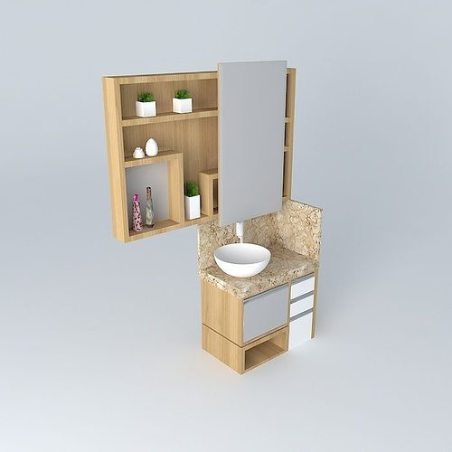 Small bathroom with niches and sliding door free 3d model for Bathroom door models