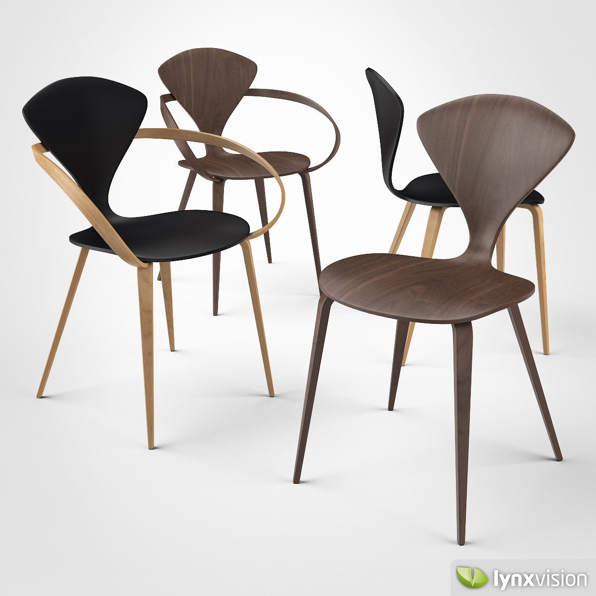 Cherner Side Chair And Armchair 3d Model Max Obj 3ds Fbx