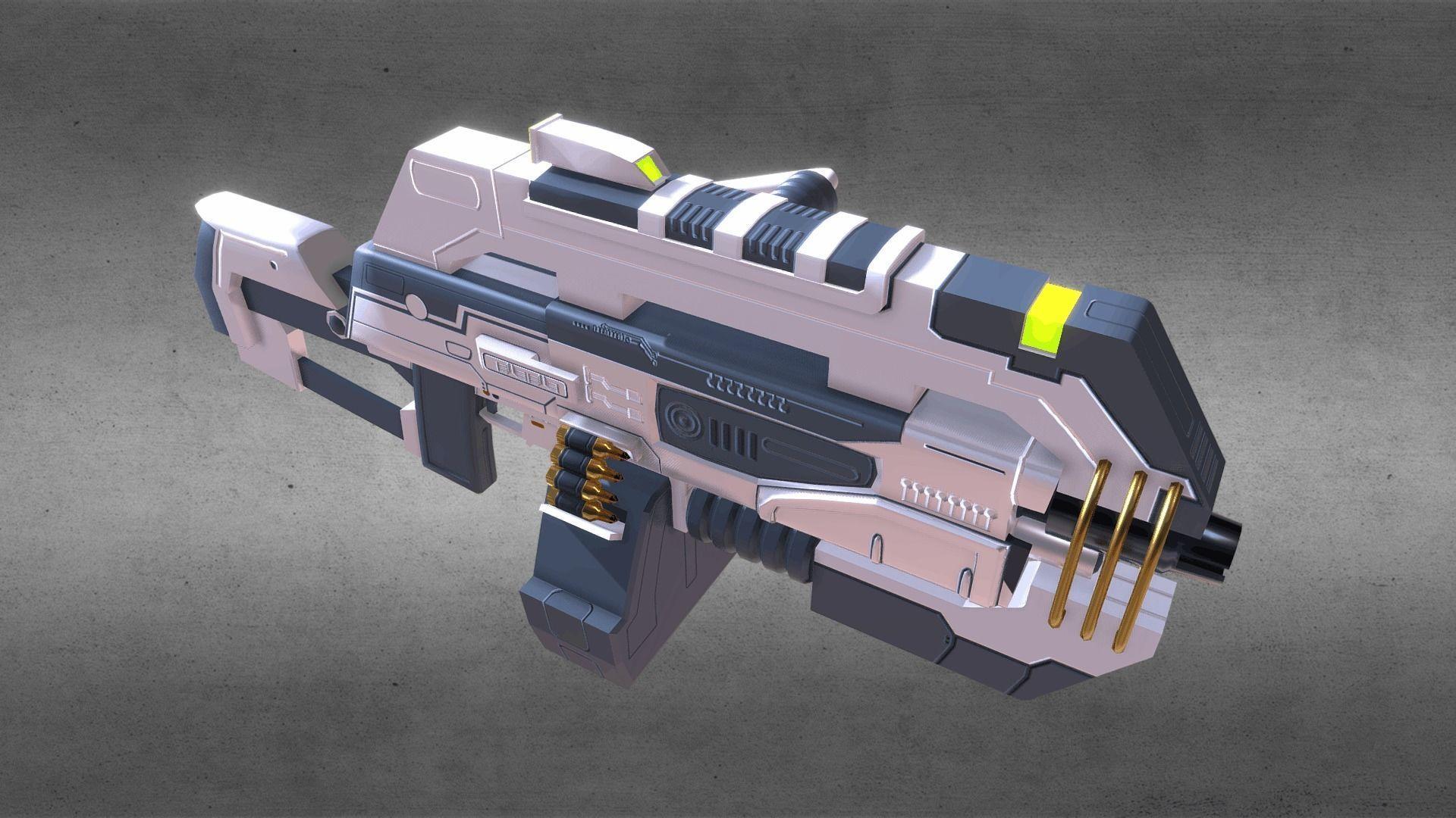 Futuristic Machine Gun 3D asset | CGTrader