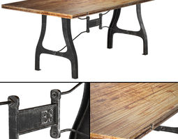 Nuevo V4 A-Leg Small Dining Table with Reclaimed Wood Top 3D Model