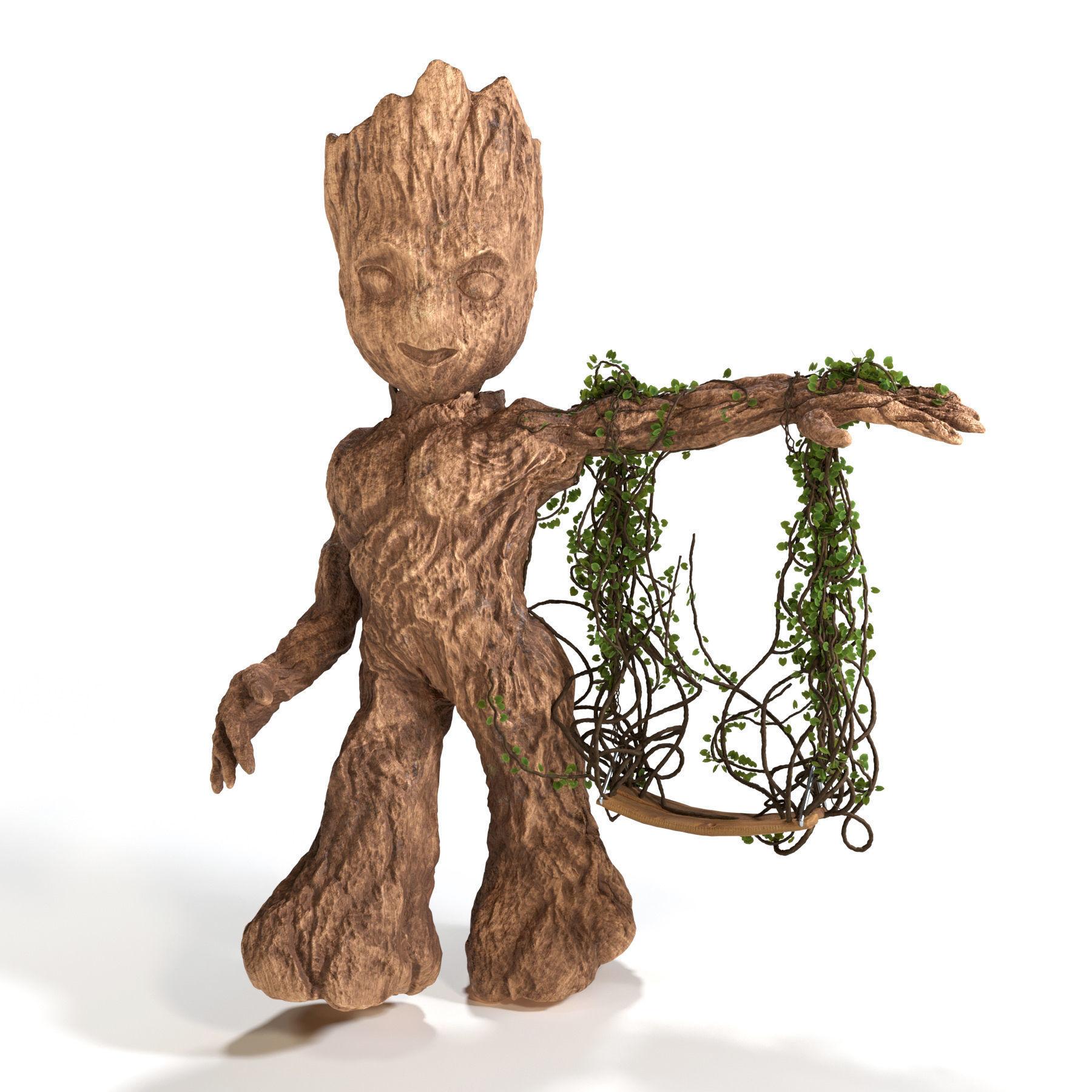 Baby Groot Swing 3d Model