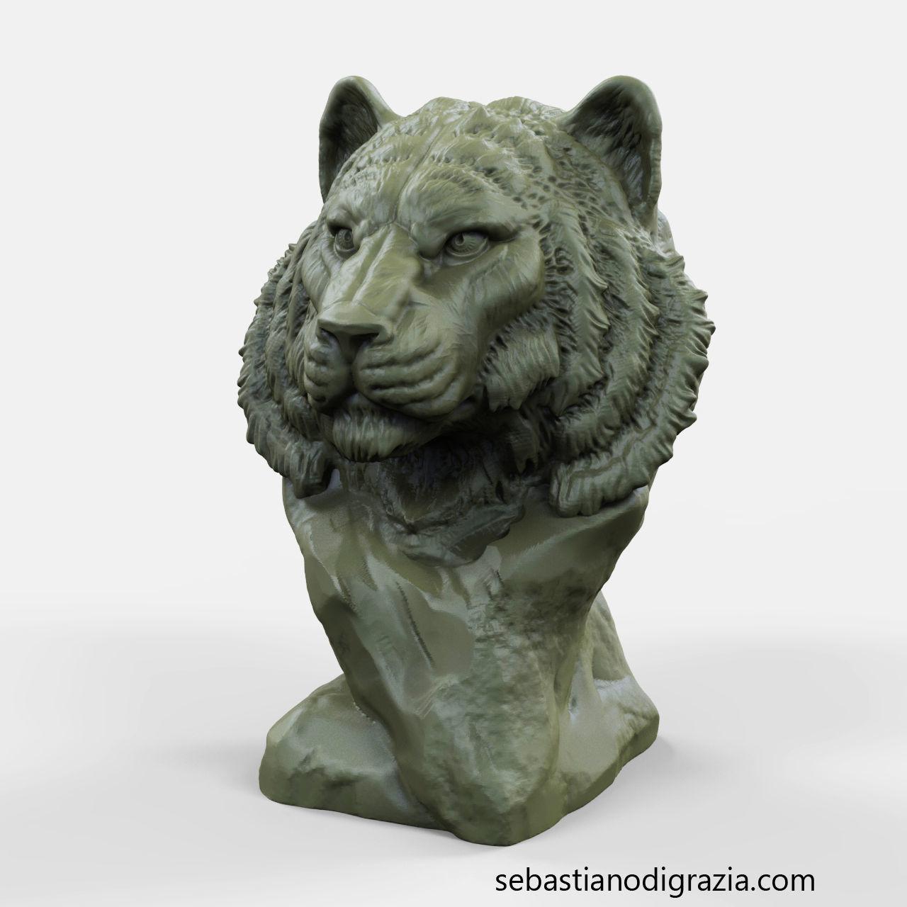 3d Printable Tiger Bust | 3D Print Model