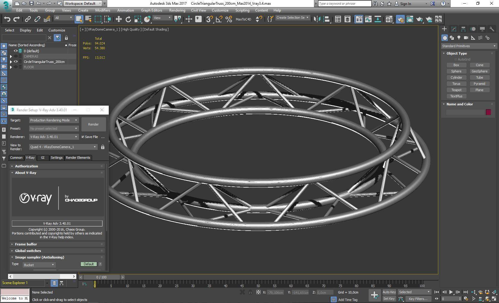 Circle Triangular Truss Full diameter 200cm