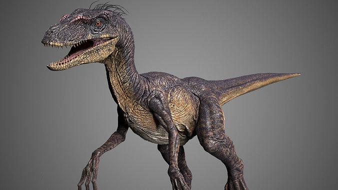 raptor 3d model rigged animated max stl 1