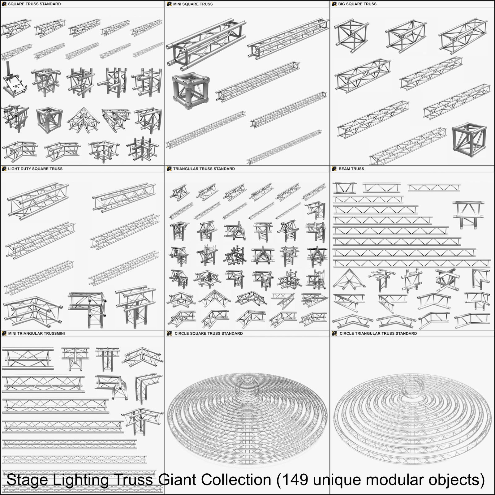 Stage Lighting Truss Giant Collection 149 unique modular objects