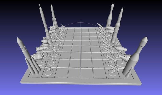 Space Race Themed Chess Set Game Pieces