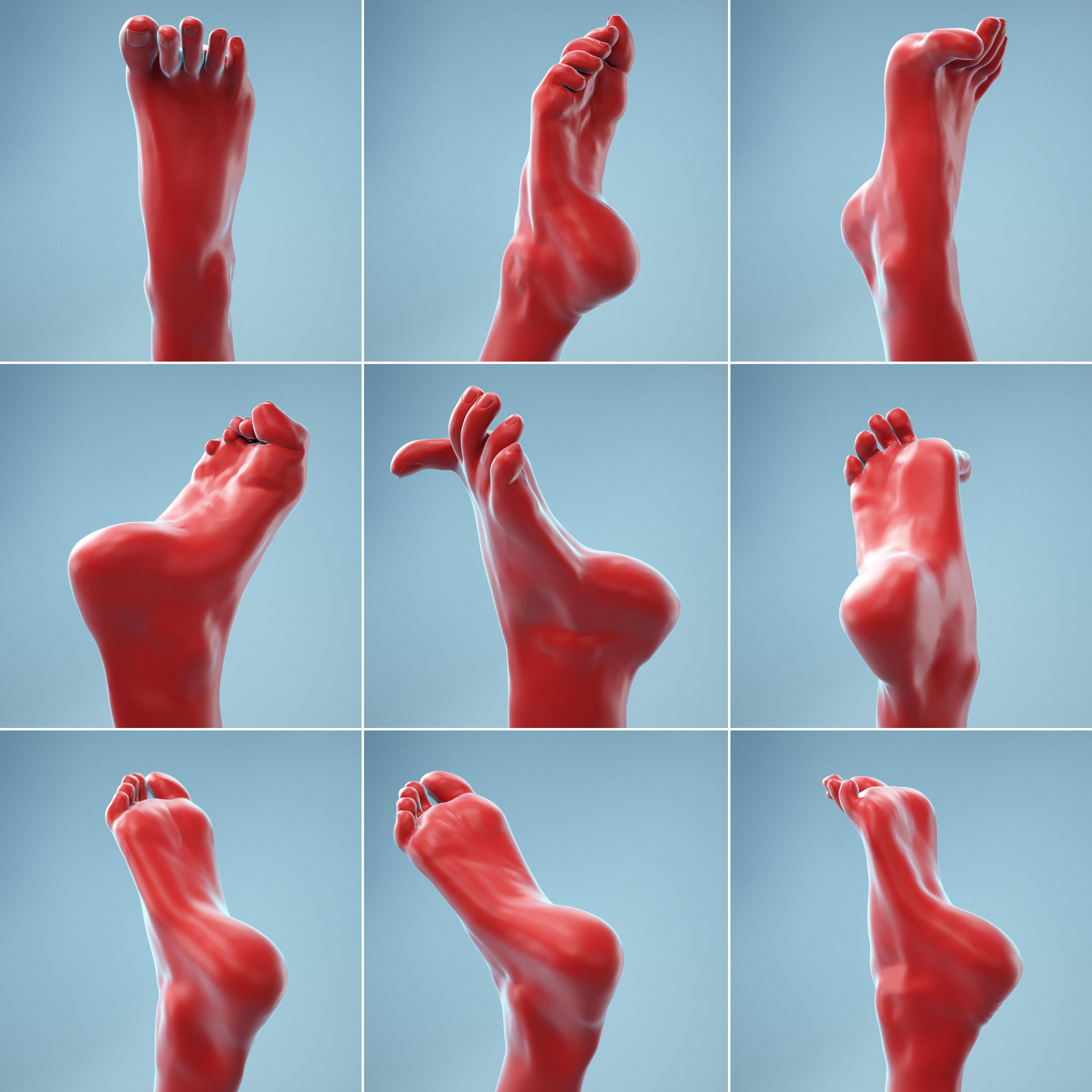 7 Realistic Photoscanned Feet