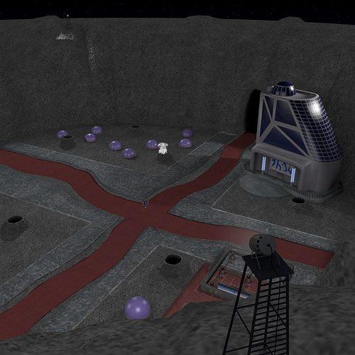 space city in a crater 3d model obj mtl 3ds blend 1