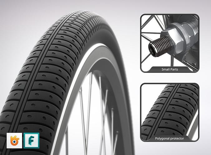 front wheel for city bike 3d model fbx blend 1