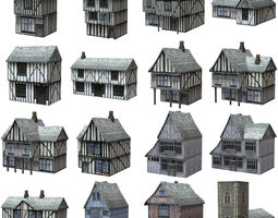 3D model Low Polygon Medieval Buildings