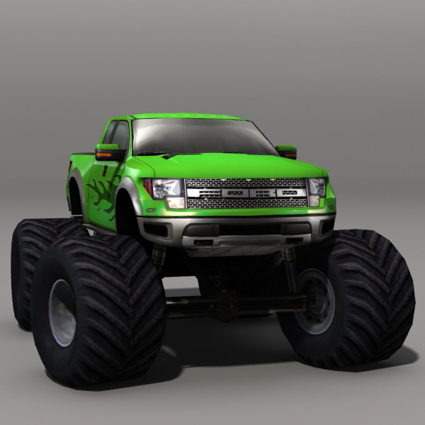 3d model monster truck 01 vr ar low poly max obj fbx for Monster 3d model