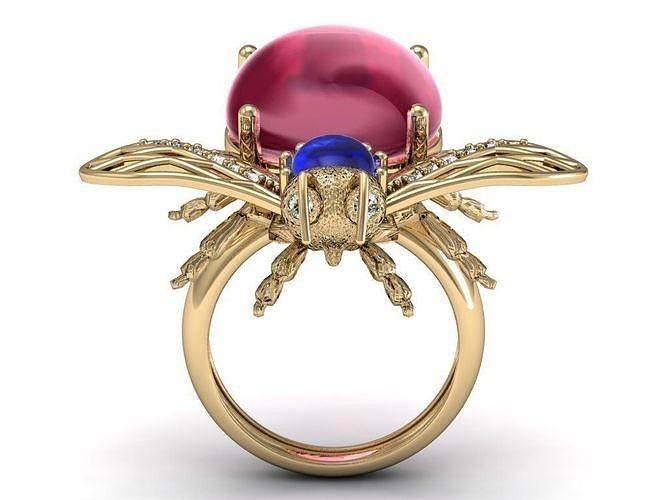 beetle bee  ruby diamond ring 3d model stl 3dm 1