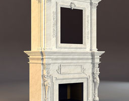 3D classical marble fireplace