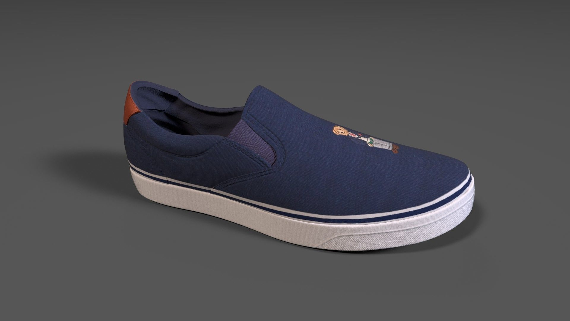 POLO RALPH LAUREN Mens Thorton Washed Twill Sneaker Navy Color | 3D model