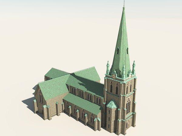 Neo gothic church 3d model obj vue - Architecture 3d vue 3d ...