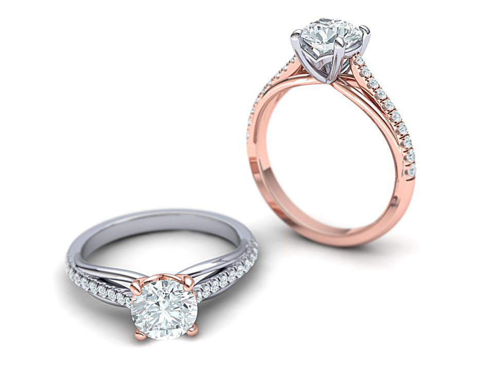 Petite Engagement ring Two tone  with 1ct stone 3dmodel