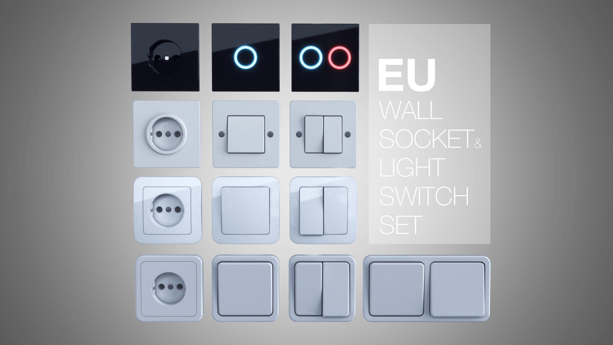 EU wall socket and light switch set