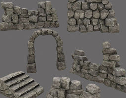 realtime wall set 3d asset