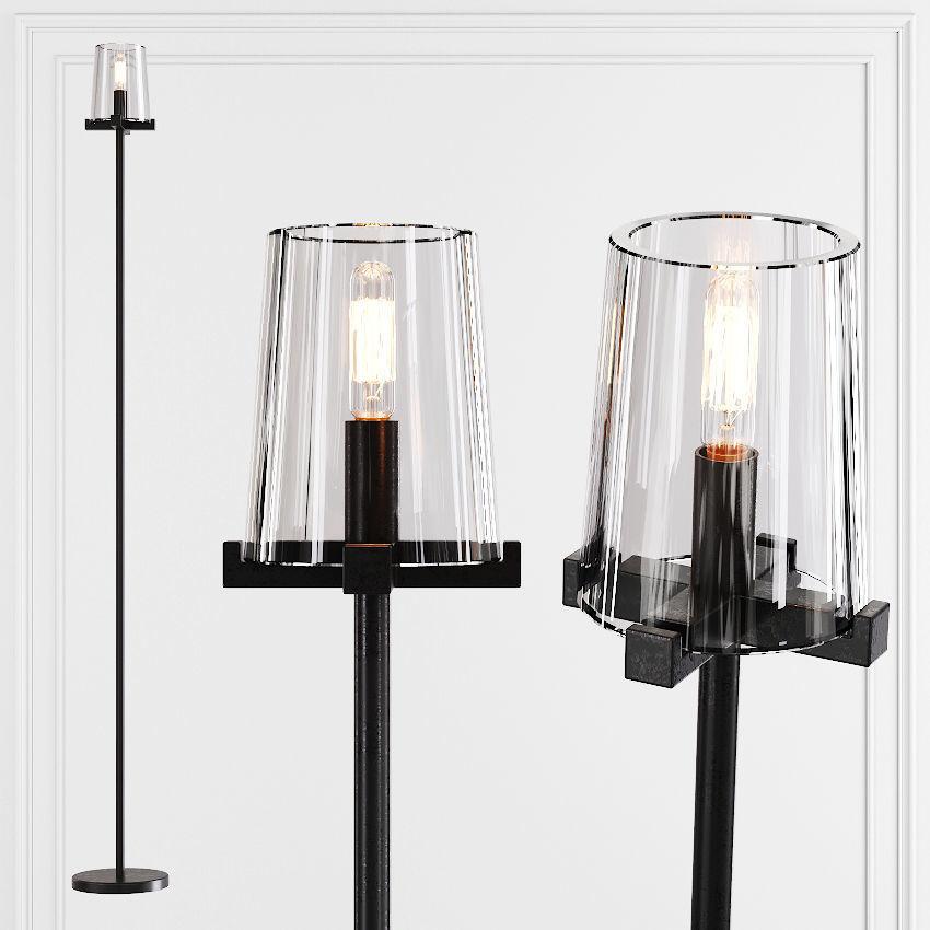 Restoration Hardware Pauillac Floor Lamp Glass Shade And Black 3d Model