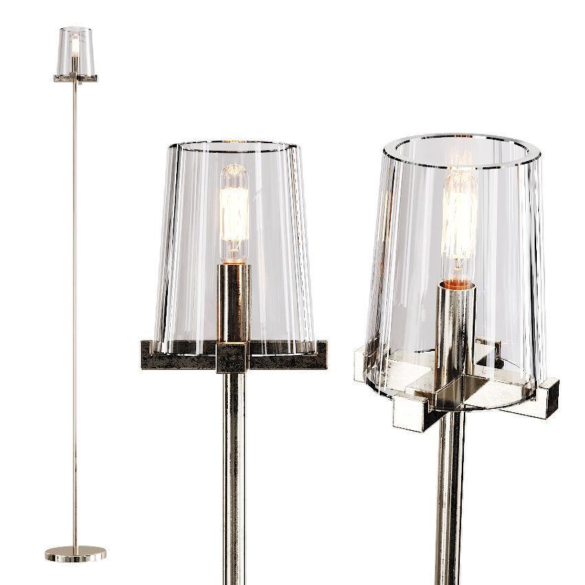 Restoration Hardware Pauillac Floor Lamp Glass Shade And Nickel 3d Model