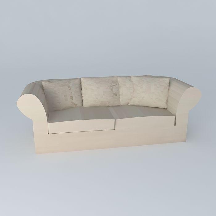 ... Roma Natural Linen Sofa 3d Model Max Obj 3ds Fbx Stl Skp 3 ...
