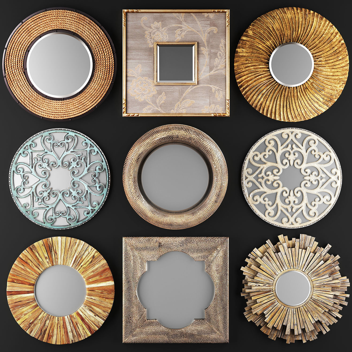 Collection of decorative mirrors