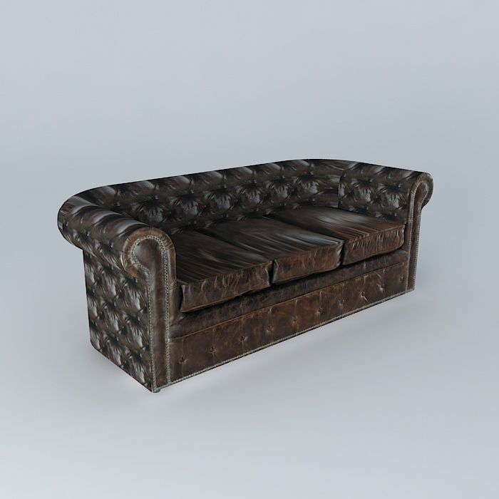 Vintage Leather Sofa 3d Model Max Obj 3ds Fbx Stl Dae ...