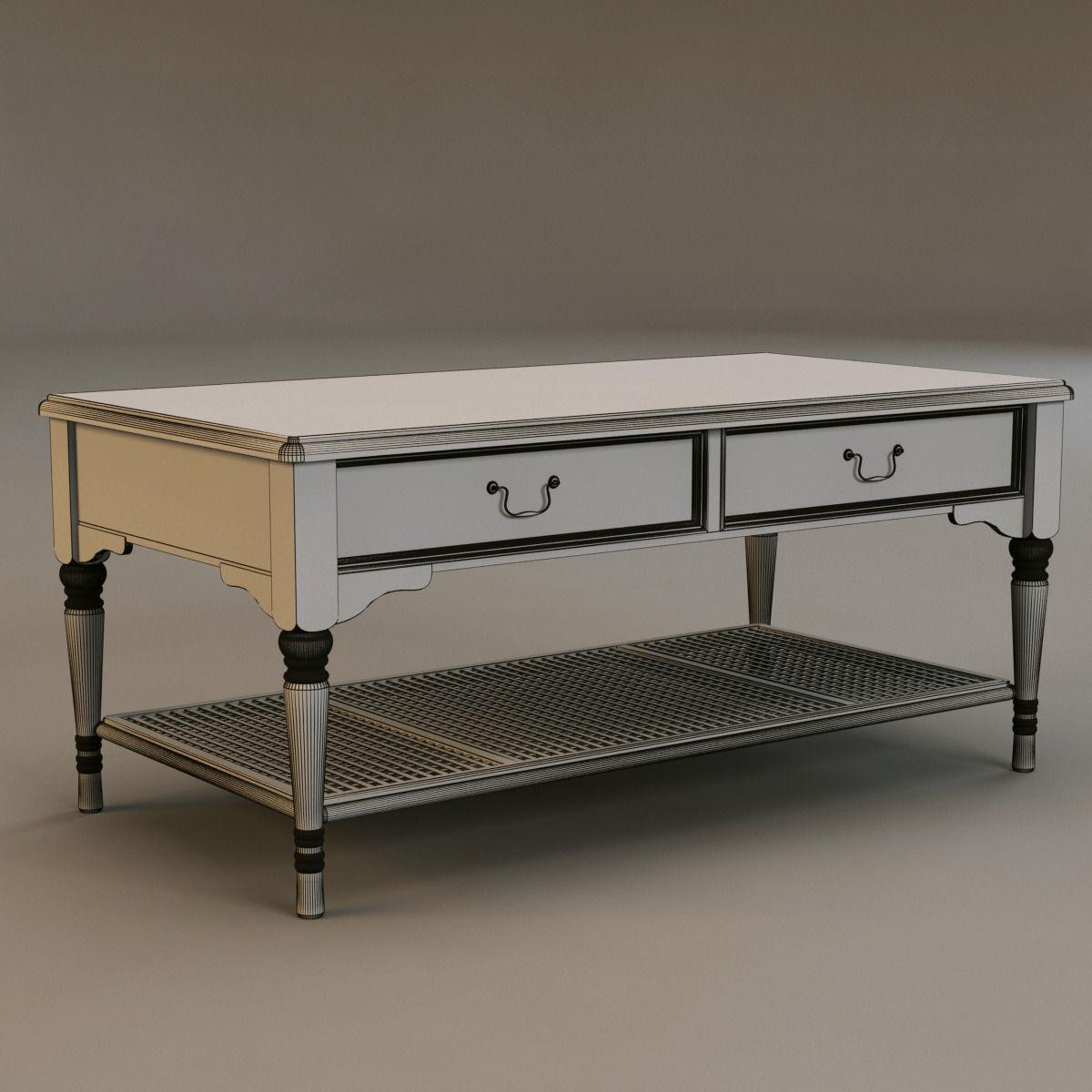 ... Laura Ashley Coffee Table 3d Model Max Obj 3ds Fbx Mtl 5