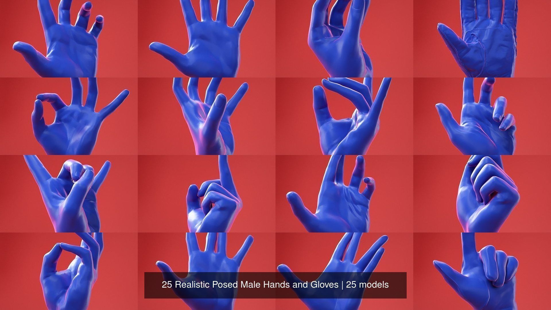 25 Realistic Posed Male Hands and Gloves