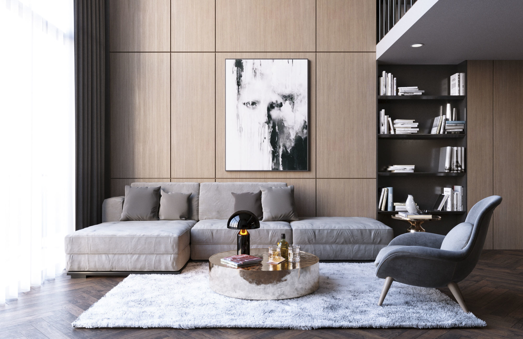 Living Room Kitchen Interior Scene for 3ds Max Corona Render | 3D model