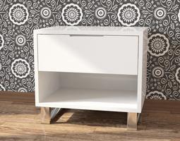Bedside white nightstand 3D model