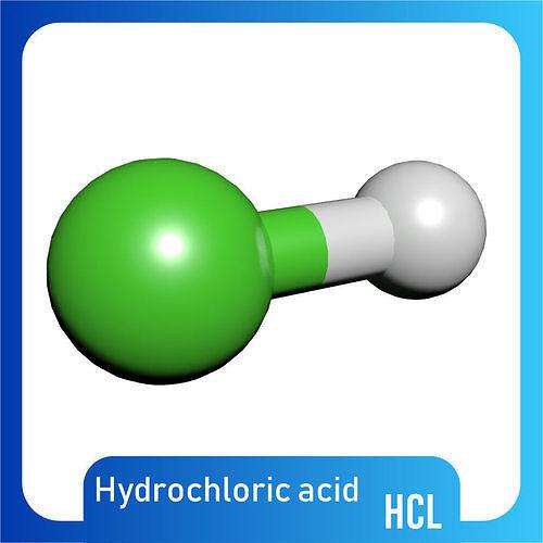 Hydrochloric Acid 3D Model HCl