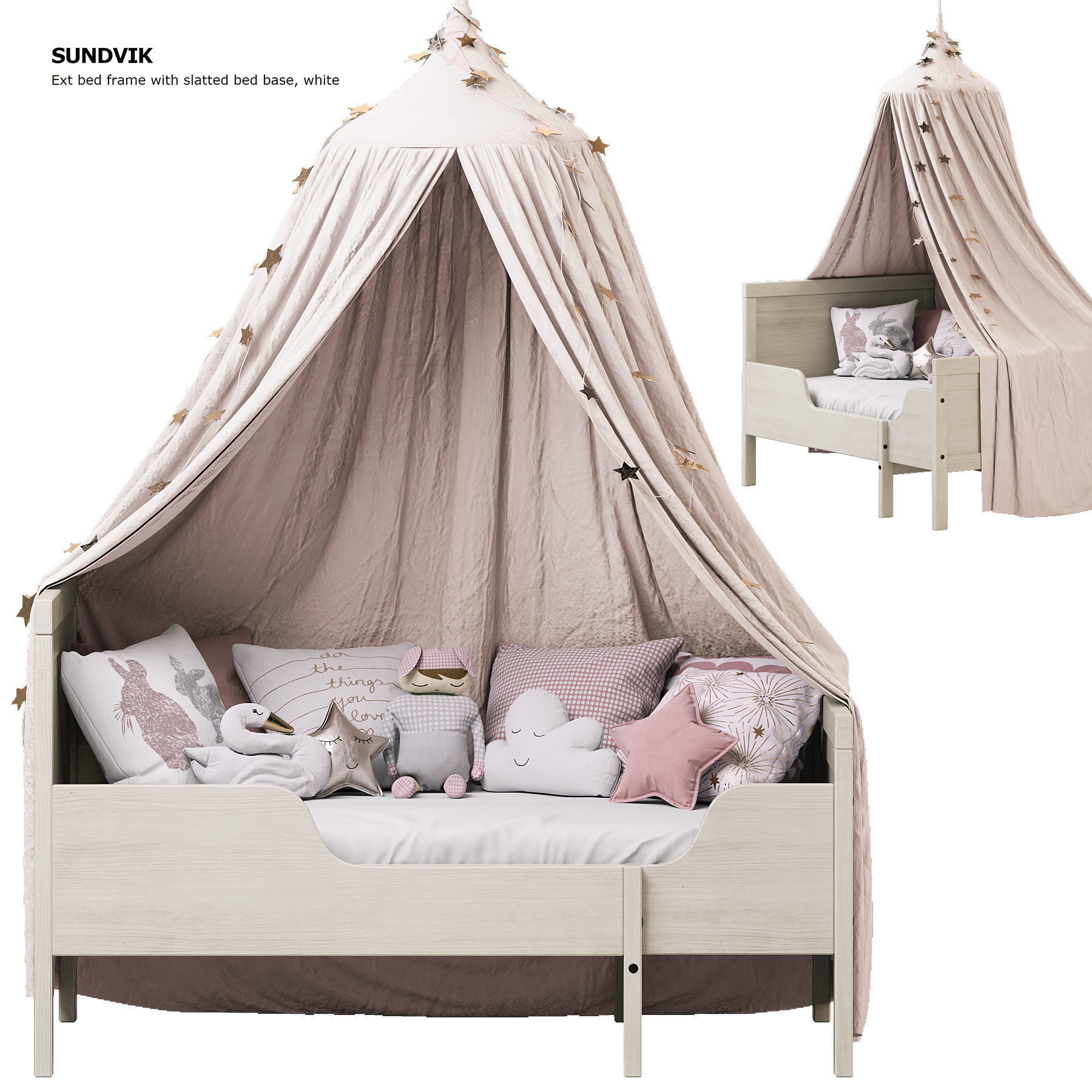 Children Bed Sundvik Ikea With Canopy 3d Model Cgtrader