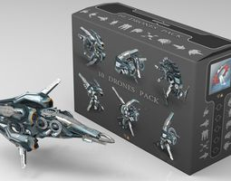 cybertech drone pack  - 10 low poly textured models  3d asset game-ready