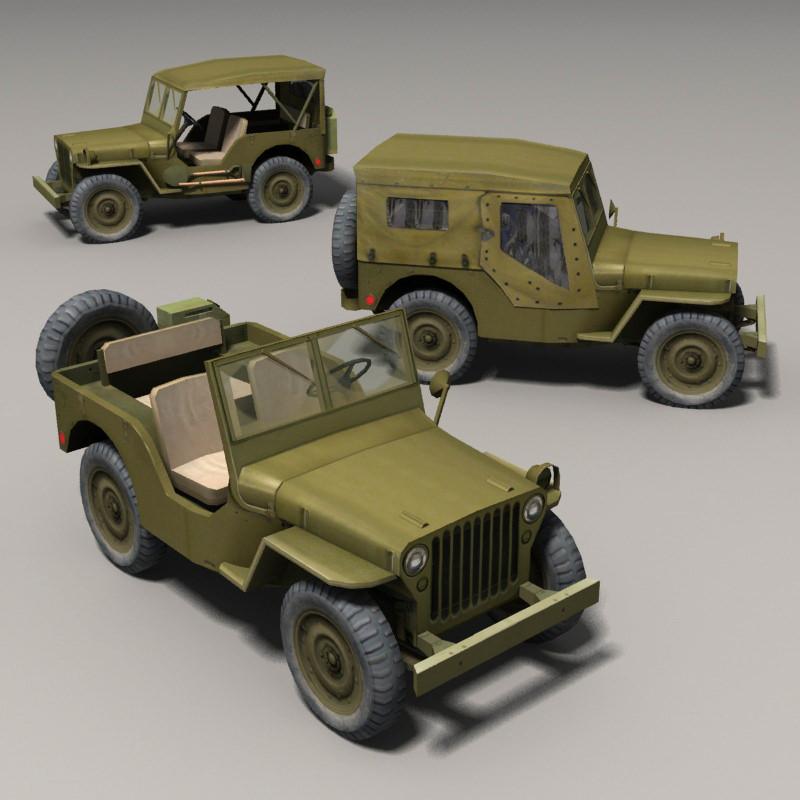 3d model willys jeep vr ar low poly max obj fbx. Black Bedroom Furniture Sets. Home Design Ideas