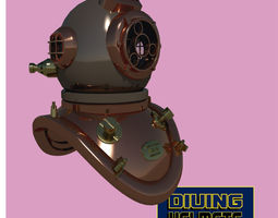 chinese diving helmet low-poly 3d model